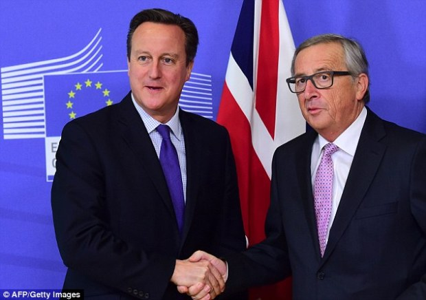 Prime Minister David Cameron with the European Commission president Jean-Claude Juncker. British diplomats say the PM will fail in his key EU demand to stop benefits for migrant workers who have been in the country less than four years