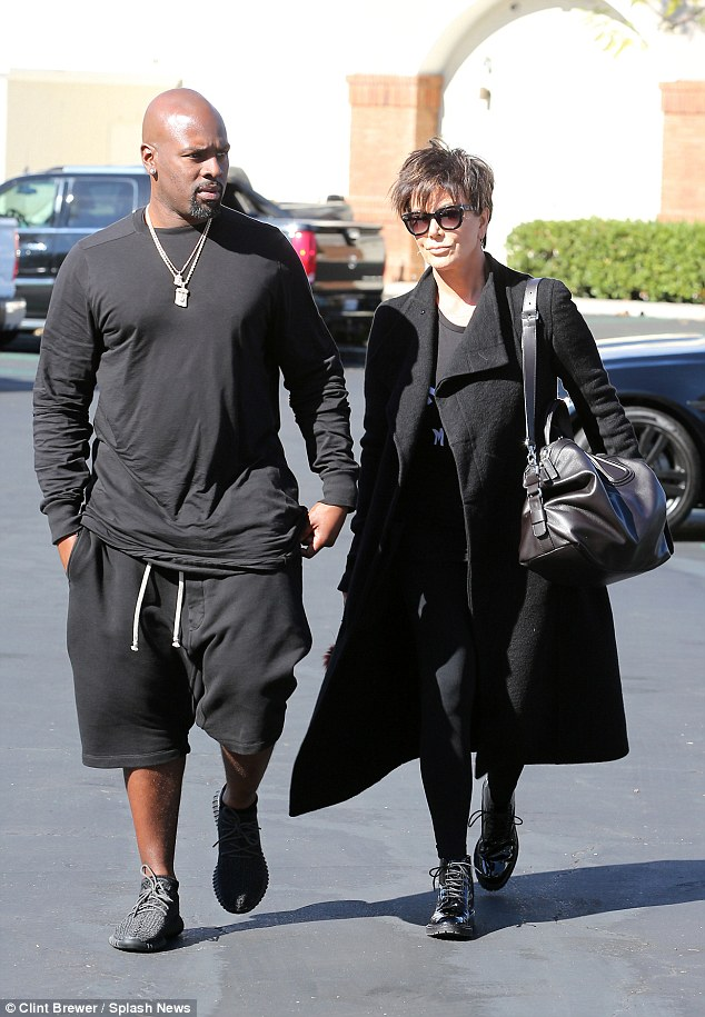 Love in the afternoon: Kris Jenner, 59, walked in with her boyfriend Corey Gamble