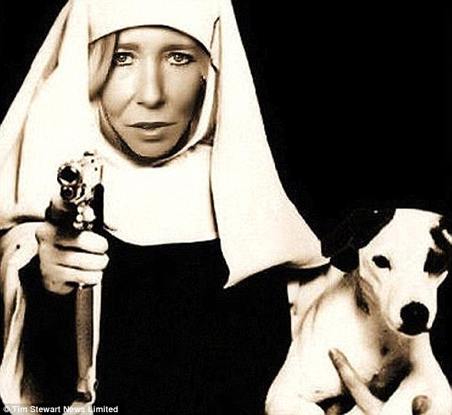 British 'White Widow' jihadi Sally-Anne Jones (pictured as a gun-toting nun in a mocked-up image on her Twitter account) has purportedly issued fresh threats about attacks on U.S. military targets