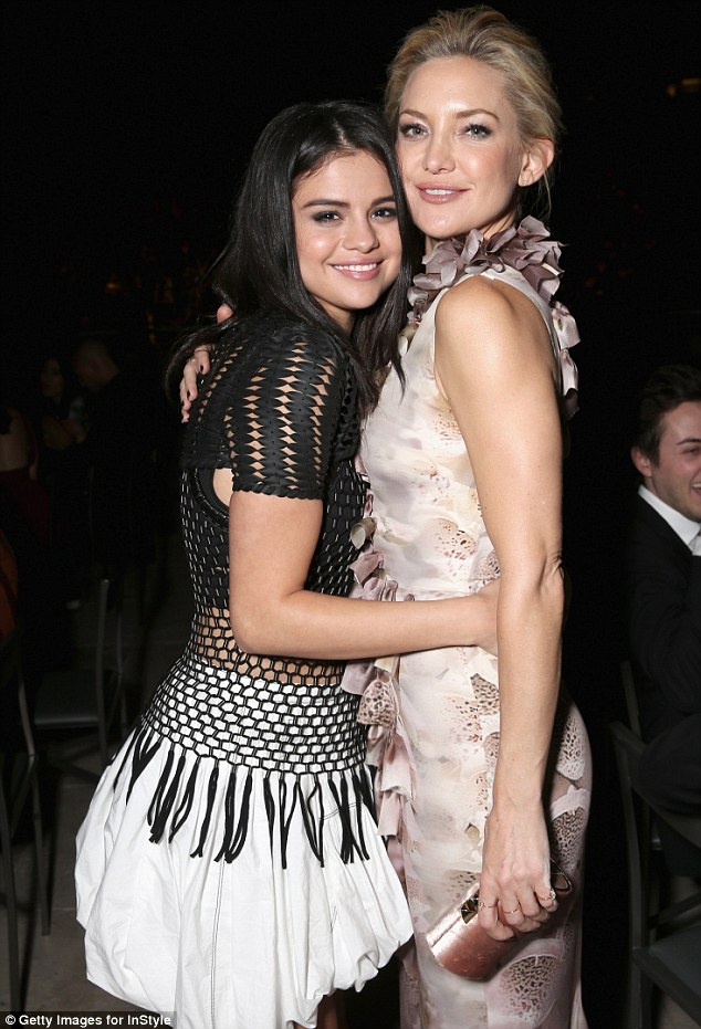 Fancy seeing you here!: Selena posed for a sweet photo with Kate Hudson