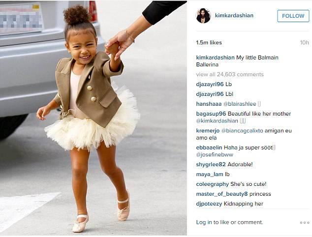 So cute: Kim posted this picture of her 'Balmain ballerina' sometime later