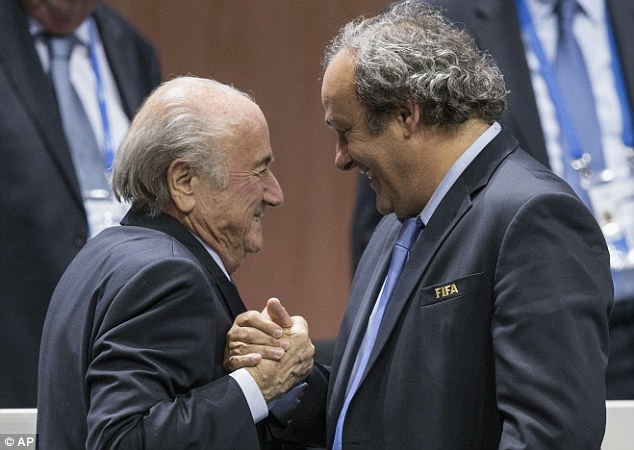 Dein was disillusioned by the £1.35m  paid by Sepp Blatter (left) to Michel Platini (right)