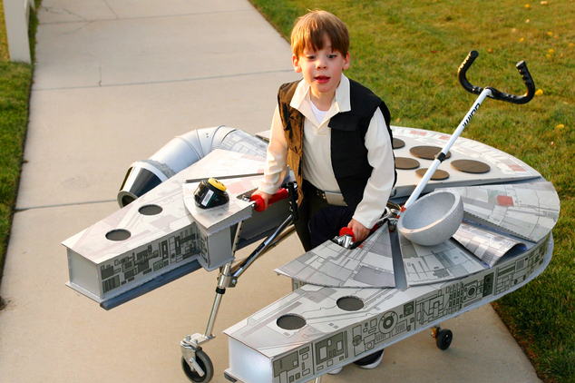 In this Oct. 27, 2015, photo, provided by Chantelle Bailey, Sebastian Bailey, 5, who has cerebral palsy, stands in his Halloween costume dressed as Han Solo ...
