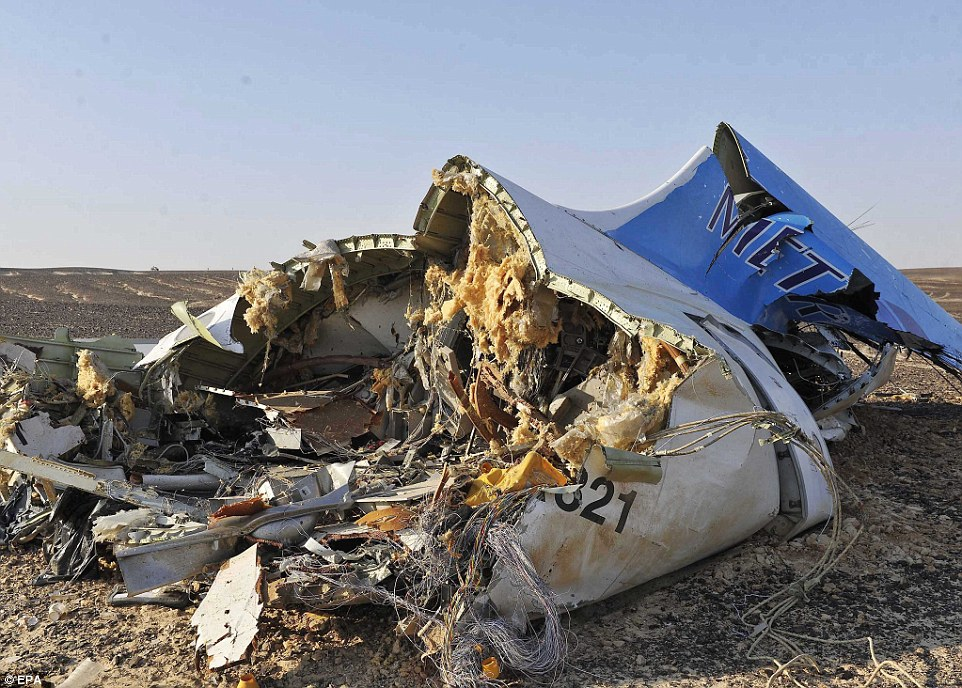 Torn apart: The harrowing photos of the wreckage were released by the office of Egyptian Prime Minister Sharif Ismail, who visited the site