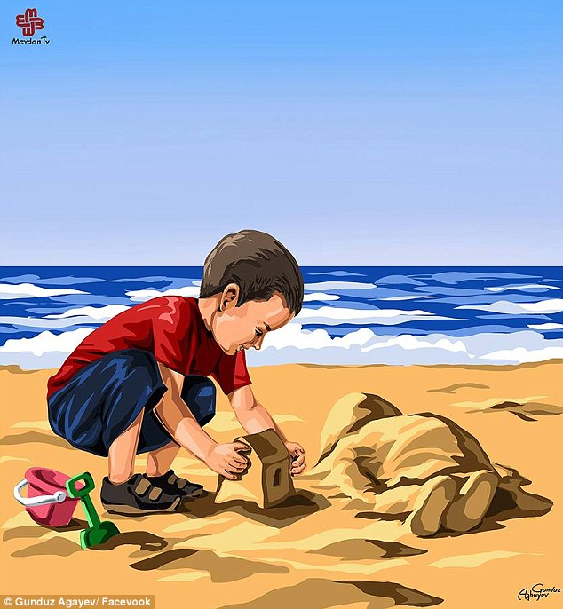 Cheerful:His illustration sees Alan cheerfully building a sandcastle on the beach, happily patting down the sand