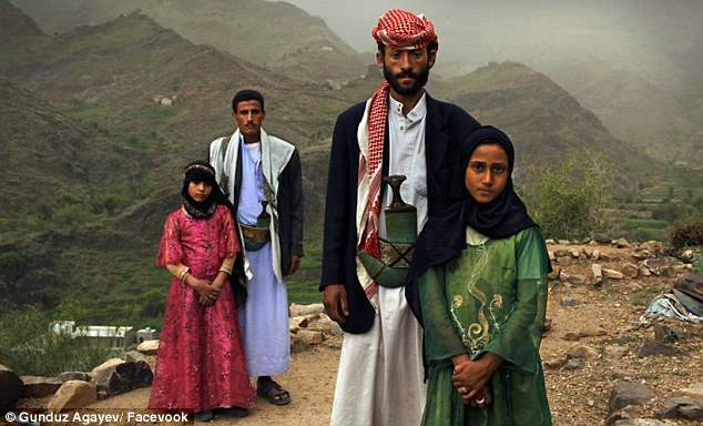 Hope: A photo of two child brides named Tehani and Ghada pictured looking stoic alongside their much-older husbands was turned into an illustration of the little girls playing with scarecrows, instead of the stern men