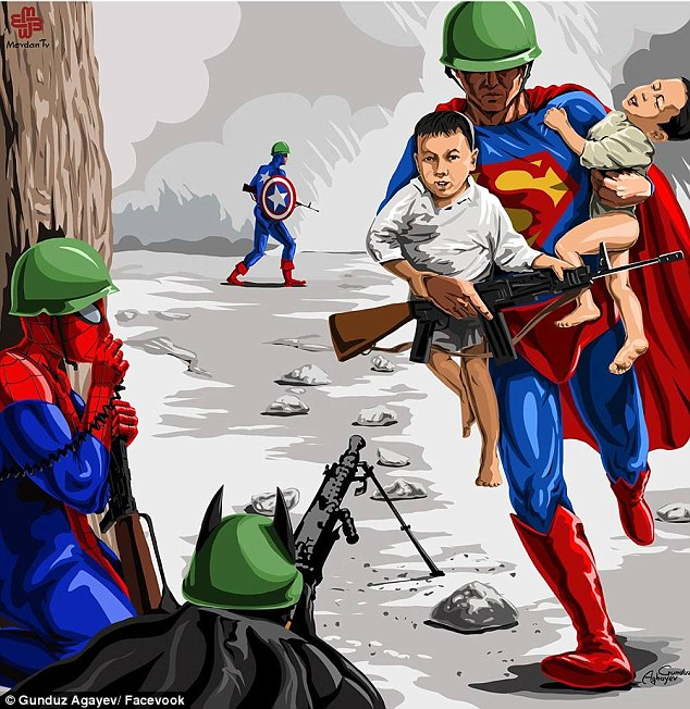 Heroes: Superman, Spiderman and Batman help save the kids in the artist's version