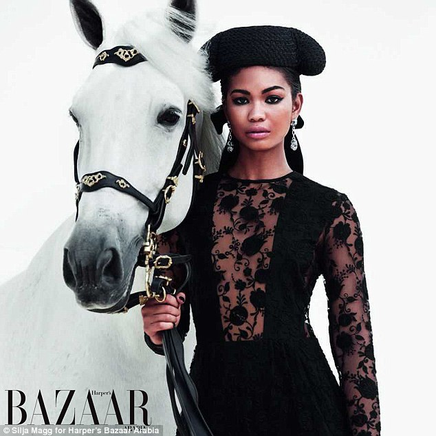 Reigns supreme: Rising star, Chanel Iman looks incredible as she models high fashion outfits alongside a beautiful horse for the latest issue of Harper's Bazaar Arabia magazine
