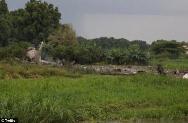 Witnesses said the tail fin of the plane and other parts were scattered along the banks of the White Nile River near the airport in the capital Juba