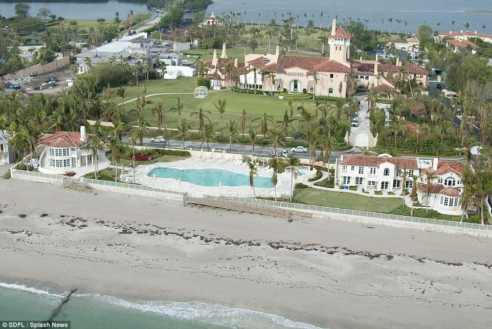 What a view: Trump also resides at Mar-A-Lago in Palm Beach, Florida which is nestled along the white sandy beaches and ocean