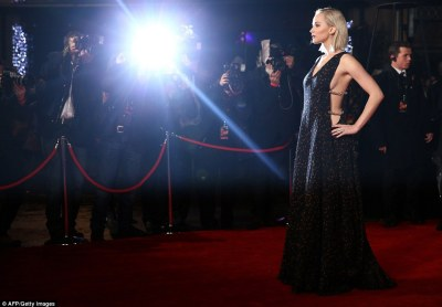 Centre of attention: All eyes were on the two-time Oscar-winner in her floor-length gown as she spun around