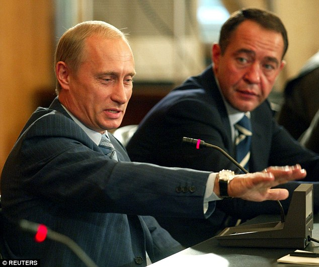 Mikhail Lesin (right, with Putin), who was Putin's press secretary during his first stint as president, founded state television network Russia Today, regarded in the West as a mouthpiece for the Kremlin