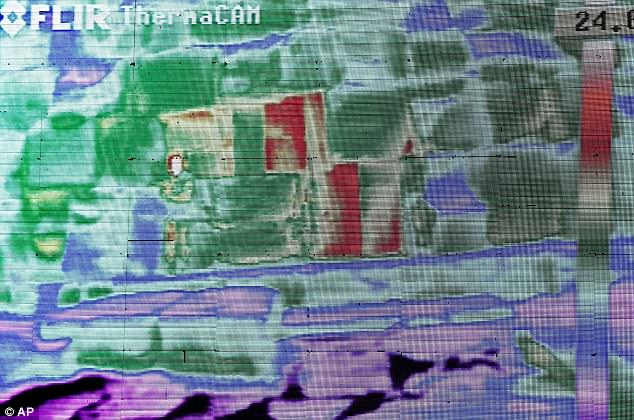 The experts said in a joint statement they had observed thermal 'anomalies' on the monuments, including on the Khufu pyramid. They detected higher temperatures in three adjacent stones at the bottom of the Great Pyramid (shown in red in this image) raising hopes they may signify a hidden chamber