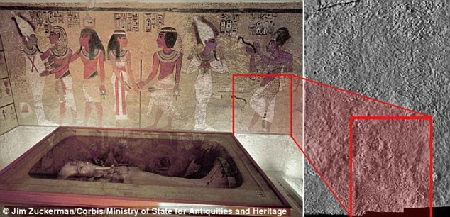 Earlier this month, infrared thermography was similarly used to measure the temperature of each of the walls of Tutankhamun's famous tomb. The researchers were particularly interested in one area of the northern wall that's a different temperature to the others (marked), potentially suggesting the presence of a hidden chamber