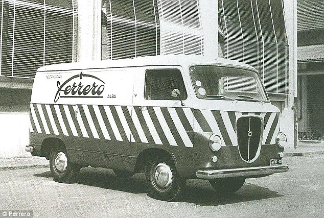 Sweet tooth: Pietro Ferrero's first product, a solid chocolate brick with hazelnuts known as 'gianduja', was so successful he needed 200 vans (pictured) to transport it across Italy by 1950