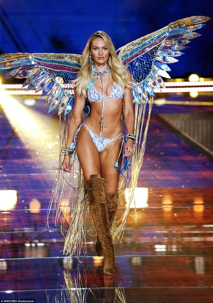 Pure Candice: Swanepoel, an experienced VS model and past Fanatsy Bra wearer, wowed in a dramatic butterfly styled outfit