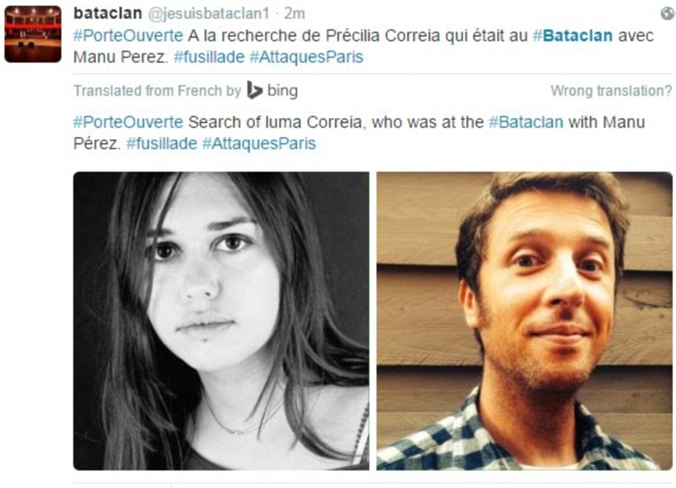 Distraught family have launched a desperate search for loved ones feared dead in the ISIS Paris massacre including Precilla Correia and Manu Perez (above) who were watching a heavy metal gig at the Bataclan concert hall when gunman slaughtered up to 80 fans