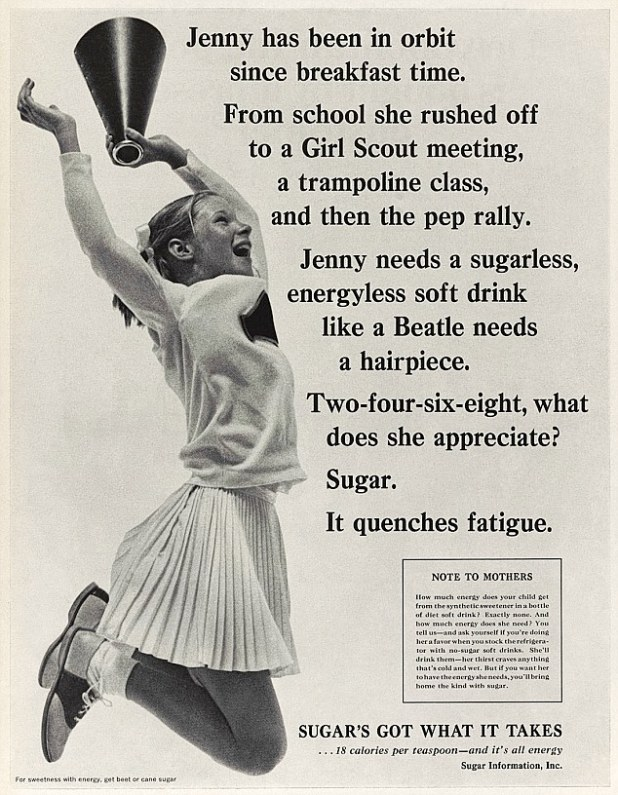 Threatened by the invention of artificial sweeteners, the sugar industry promoted sugar as an energising product that reduced fatigue and curbed appetite