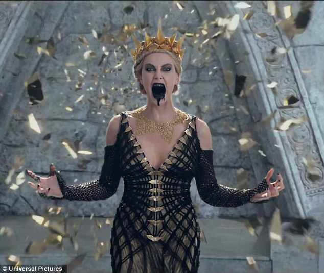 She's back: The clip reveals Charlize Theron's evil Queen Ravenna - vanquished with the help of Kristen Stewart's Snow White in the first film - being resurrected by her sister