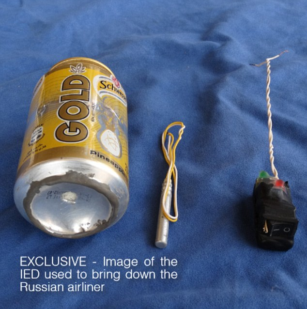 Pictured is the image published in the ISIS magazine purported to be of the IED used to destroy the jet