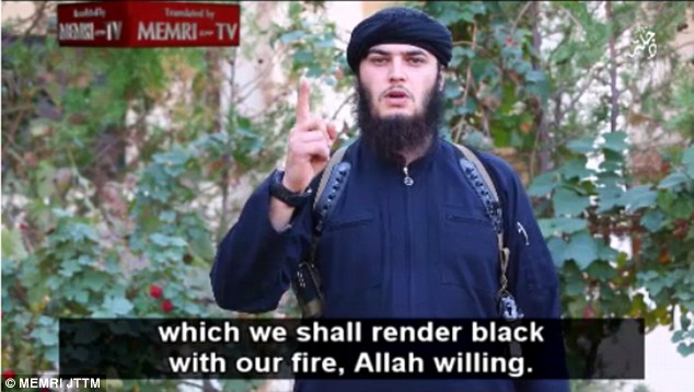 A bearded jihadi, believed to be speaking from ISIS-controlled Dijlah, to the north of the Iraqi capital Baghdad, says the terrorists will 'blow up [the White House] like we blew up the false idols in this good land'
