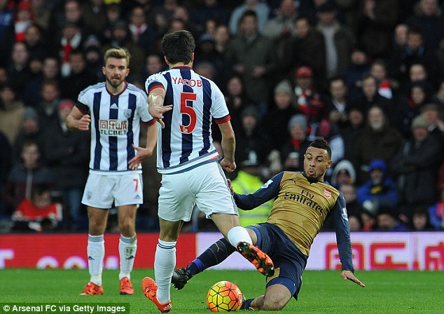 Arsenal midfielder Francis Coquelin (right) lands awkwardly while tackling West Brom's Claudio Yacob