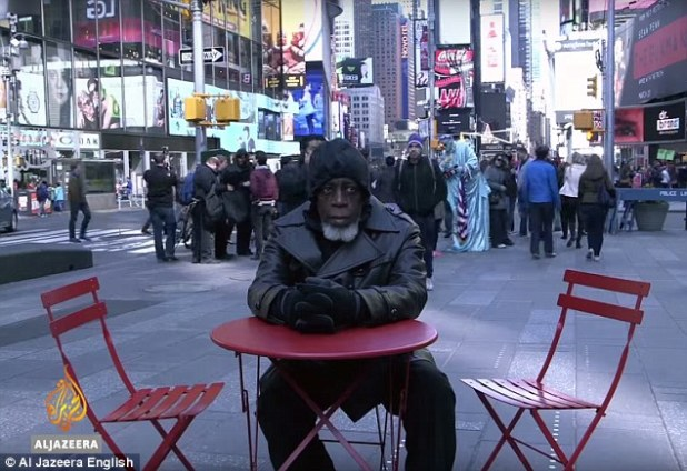 Back in society: The elderly man immediately went to Times Square and says he likes to watch people