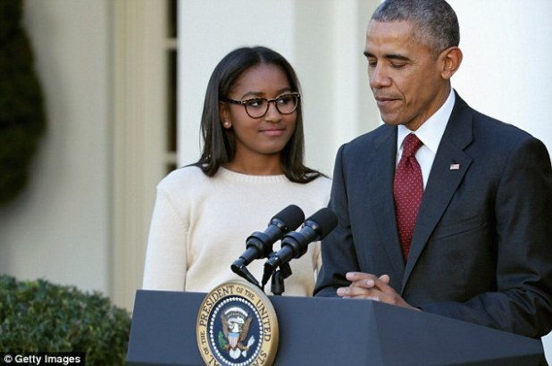 'OK, that was funny,' Sasha Obama said to her dad several times as he made jokes throughout today's White House turkey pardoning ceremony