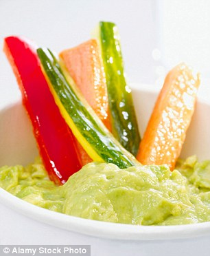 Vegetable sticks and avocado dip