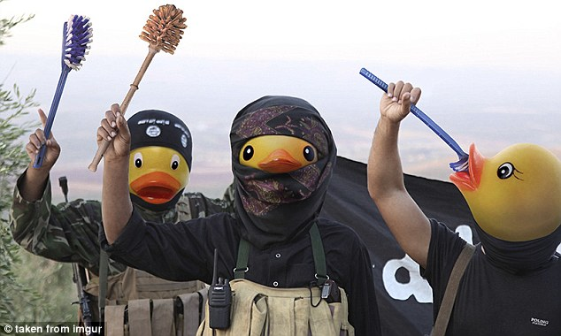 In this image, a group of terrorists have lost their weapons to be replaced by toilet brushes