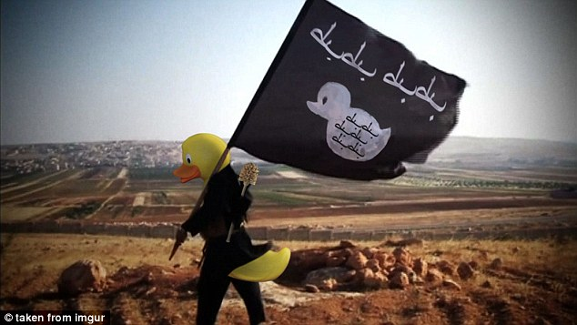 This lone quackbar soldier is carrying his duck flag above the wastelands of Syria or Iraq