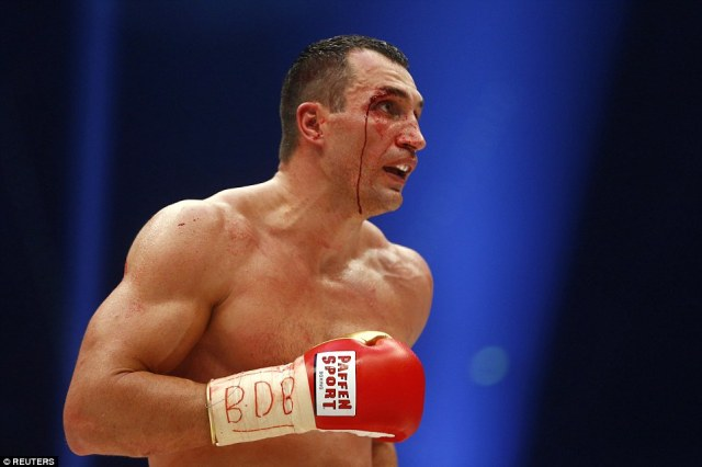 Klitschko bled profusely from his face after being cut; the 39-year-old was caught on his top right eyelid, and on his left side, too