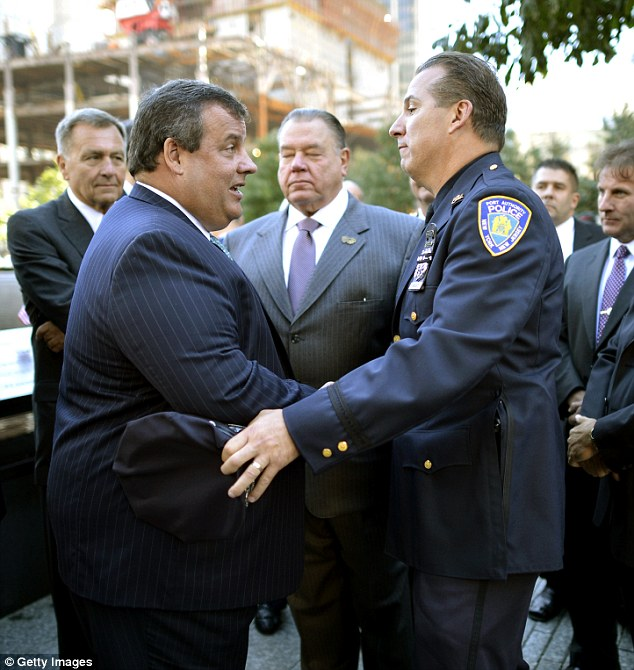 It is not the brash police officer's first brush with controversy. Last year, Nunziato (right) - a good friend of New Jersey Gov. Chris Christie's (left) former PA David Wildstein - was caught up in the Bridgegate scandal