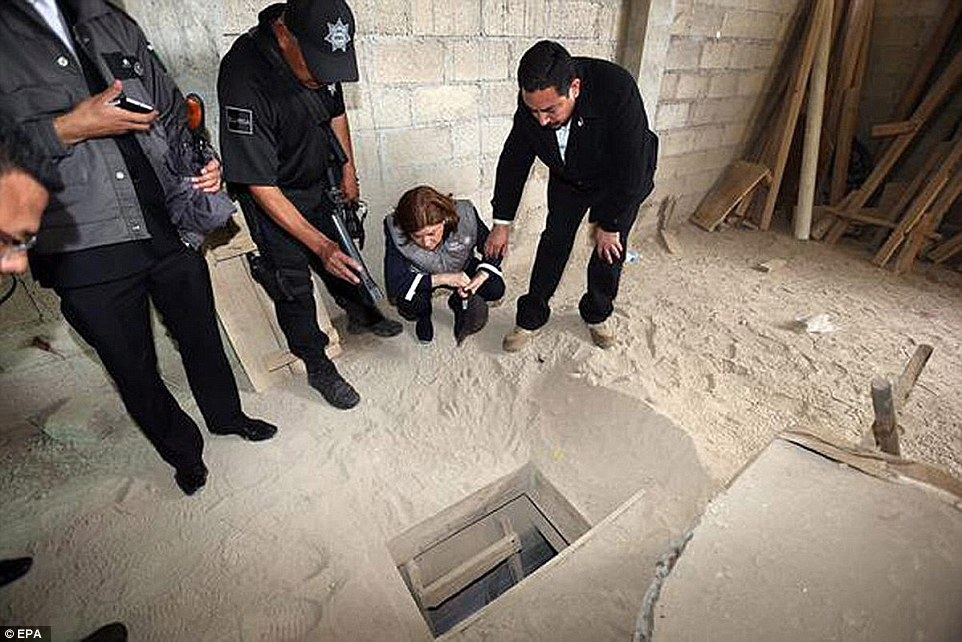 The drug lord prized open a 20x20 inch grill in the shower floor (pictured), and climbed down a 32ft shaft into a complex tunnel system