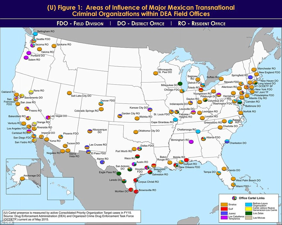 The circular discs show urban areas which cartels wield the most power there, with El Chapo's organization (yellow) again having strongholds across the US