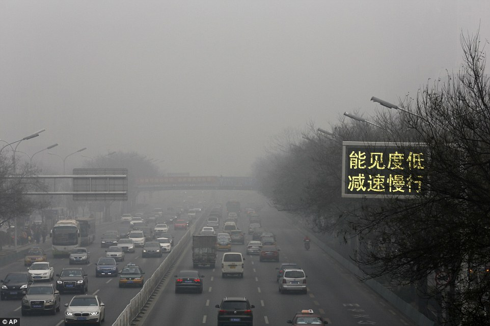 Levels in cities in Beijing's (pictured) neighbouring Hebei province were more than 20 times the World Health Organization's advised limit for daily exposure