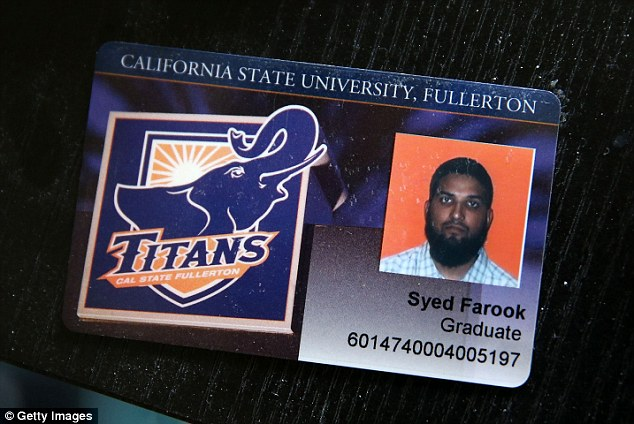 A university ID shows Syed Rizwan Farook with a fuller beard than in his driving license photo. There are claims that his wife radicalized him after he married her in Saudi Arabia and brought her to the US
