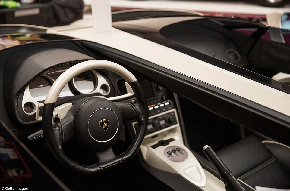 The inside of the Lamborghini Concept S is pictured. The vehicle was based on the Lamborghini Gallardo, with an open roadster body