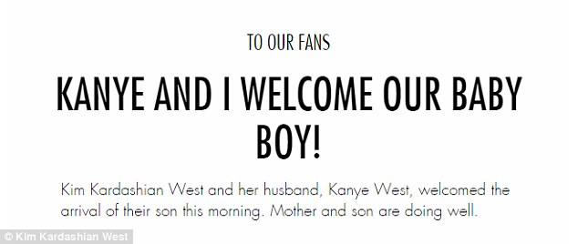 Big news: Kim and husband Kanye West announced the birth of their second child via the reality star's website and app on Saturday morning