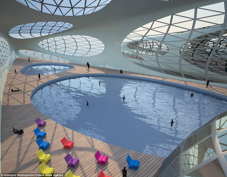 Σχεδιασμένο από 32-year-old Gianluca Santosuosso, από το Λονδίνο, τα σχέδια περιλαμβάνουν χώρο για πισίνα, εστιατόρια και κήπο
