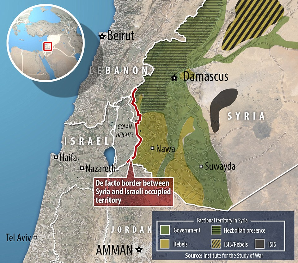 Chaos: Alongside the border with Israel numerous groups battle in Syria, including Hezbollah, Government troops, rebels and ISIS