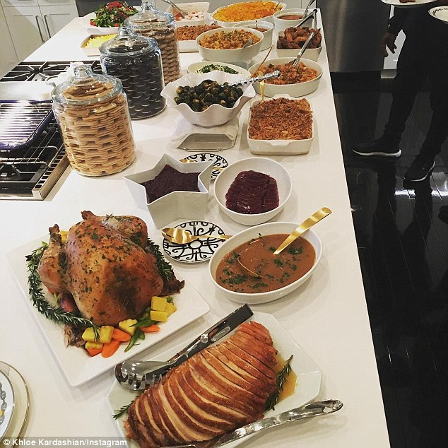 Thanksgiving spread: Khloe appears to have had the pies delivered to her home for $32 per item