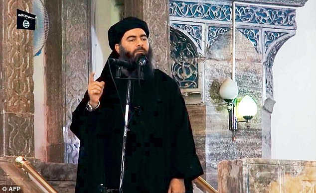 ISIS leader Abu Bakr al-Baghdadi (pictured), described by Time as a 'brooding muezzin of death', was second on the list