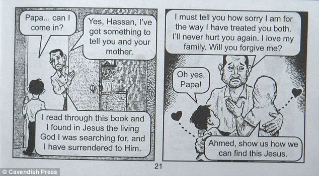 The comic strip continues to show the man converting to Christianity, surrendering himself to Jesus, and showing love and affection to his family