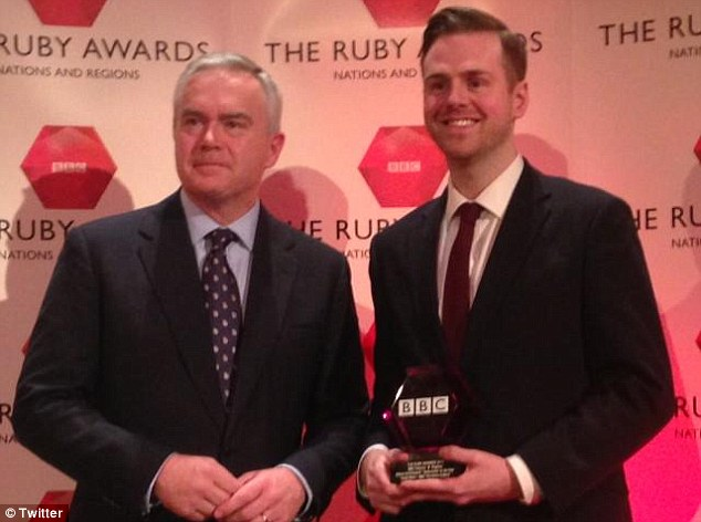 Andy West (pictured, receiving an award from BBC anchor Huw Edwards) claims he has been suspended by the company for saying he was 'ashamed' Tyson Fury is nominated as Sports Personality of the Year