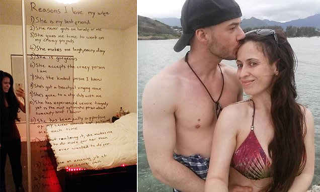 LA husband Tim Murphy cheers his depressed wife Molly with adoring mirror note