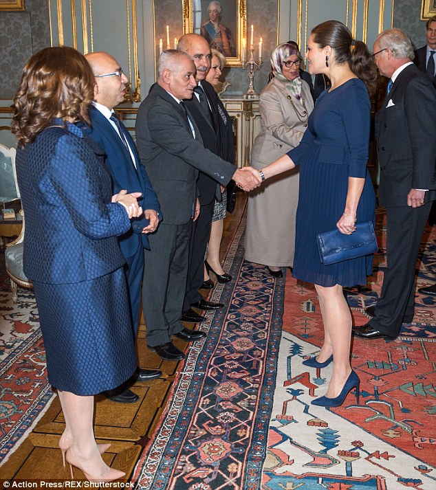 Blue was evidentially a strong theme, with both Ms Bouchamaoui and Fadhel Mahfoudh opting for the same hue as Princess Victoria