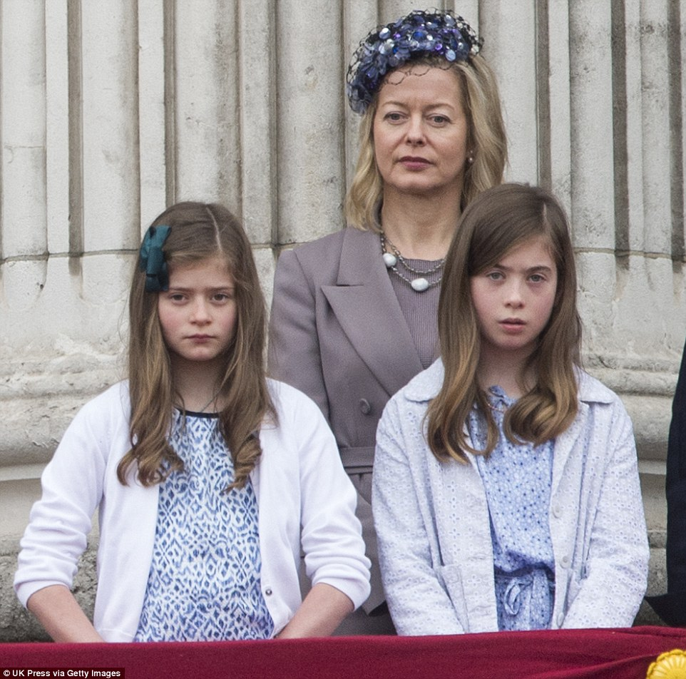 Lady Helen Taylor with Eloise Taylor, seven, (left) and Estella Taylor, ten, (right) during the annual Trooping the Colour ceremony at Buckingham Palace on June 13, 2015 in London