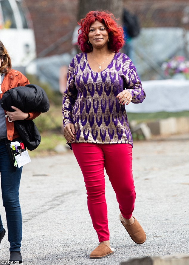 Queen Latifah Shows Off Red Hair On Set Of Lee Daniels TV