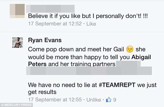 Another Facebook user says they don't believe the before and after shots, only for Ryan to tell her to go and meet Abigail herself